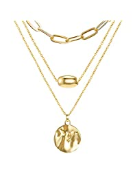 FAMARINE Gold Layered Pendant Long Necklace, Chain CZ Teardrop and Filigree Pendant Costume Jewelry for Women