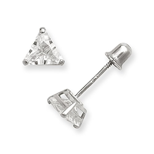 14k Yellow or White Gold Cubic Zirconia CZ Trilliant (Triangle) Screw-back Stud Earrings ... (white-gold)