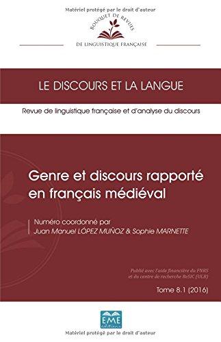 Download Genre et discours rapporté en français médiéval: Tome 8. 1 (2016) (French Edition) ebook