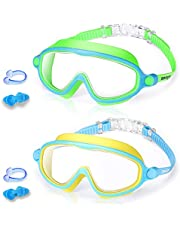 2 Pack Kids Swim Goggles, Anti-Fog UV Protection Wide View Swimming Goggles for Children Toddler Age 4-15