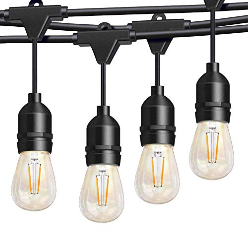 Binval S14 LED Edison Outdoor string lights Commercial Grade 15 Hanging Socket 15 LED Bulbs 48Ft Porch Decor Outside Led Lights Patio Garden Kitchen Decor Cocktail Parties Wedding Parties