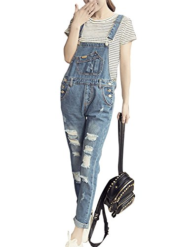 Denim Slim Pantalones Vaqueros Tirantes Peto Rasgados De 9055 Con Pantalón Mujeres rA0xpwr