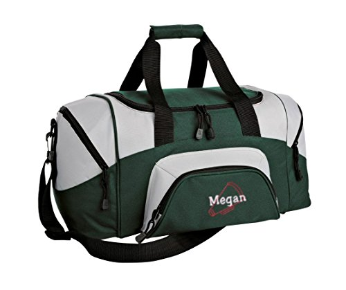 Small Colorblock Sport Duffel Bag by All About Me Company | Personalized Megaphone Gym Bag - Customi Hunter/Grey Small Green Megaphone