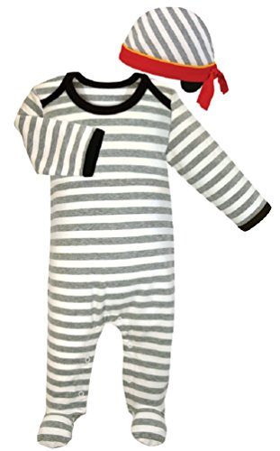 stephan-baby-611314-striped-footie-romper-cap-set-0-3-months