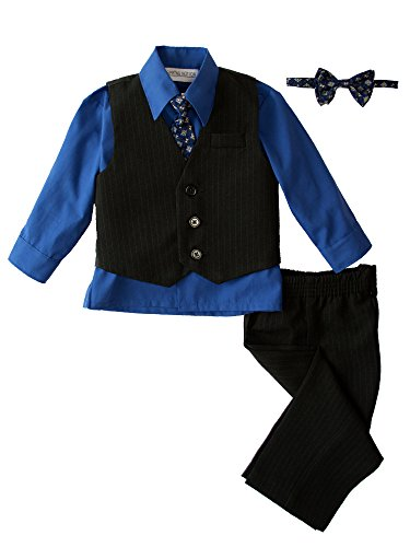 Victoria Dress In Black - Spring Notion Baby Boys' 5 Piece Pinstriped Vest Set Royal Blue Size 2T