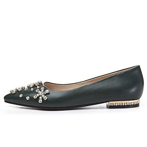 Nueve Siete Cuero Genuino De Las Mujeres Del Dedo Del Pie Puntiagudo Tacón Plano Diamantes De Imitación Hechos A Mano Zapatos Planos Verdes