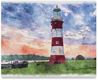 Yxuaoq Wall Art Painting Watercolour Painting Lighthouse Hoe Plymouth Devon Prints On Canvas The Picture Landscape Pictures Oil For Home Modern Decoration Print Decor For Living Room Amazon Co Uk Kitchen Home