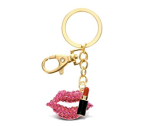 CoTa Global Pink, Red and Gold Lips & Lipstick Sparkling Charm w/Stones Elegant Keychain Pendant Measures 4.5 Inches w/Durable Key Ring & Clasp Cosmetic Fashion Bling Accessory for Keys/Purse/Bags ()