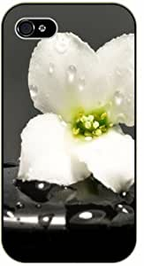 LJF phone case Large white flower over grey background - iPhone 5 / 5s black plastic case / Flowers and Nature, floral, flower