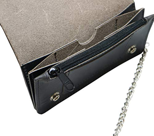 Men's Handmade Wallet Biker Leather Chain Leather Black with Buffalo Wallet ZUPnxS