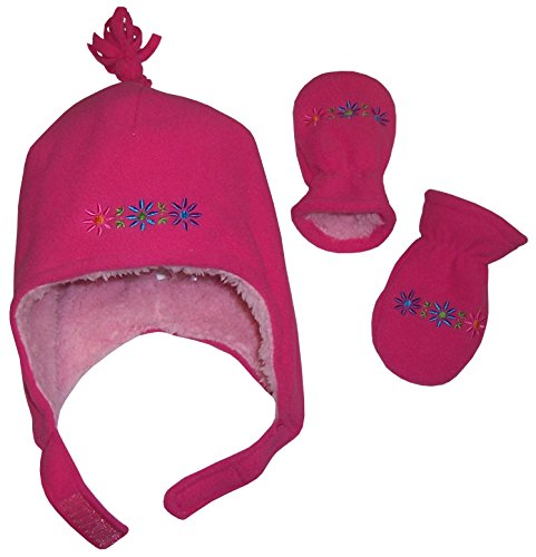 N'Ice Caps Girls Sherpa Lined Flowers Embroidered Micro Fleece Set (6-12mo, Infant - fuchsia/multi)
