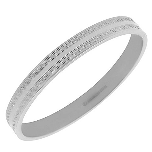 My Daily Styles Stainless Steel Oval-Shaped Greek Key Silver-Tone Classic Bangle Bracelet
