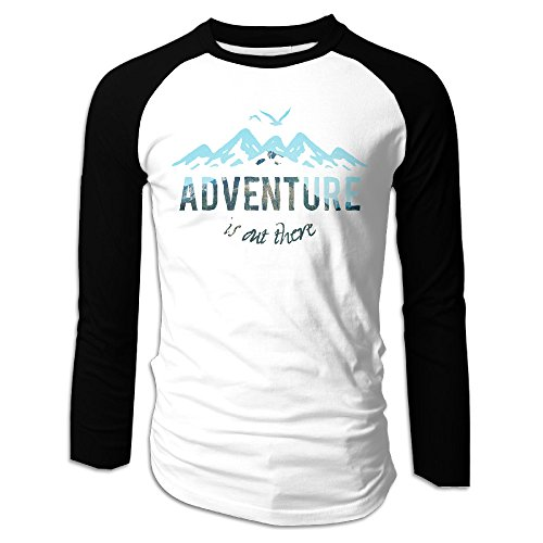 Creamfly Mens Adventure Is Out There Long Sleeve Raglan Baseball Tshirt M
