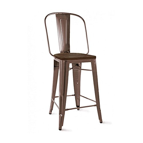 Design Lab MN Dreux Elm Wood Bar Chair, Set of 4, 30