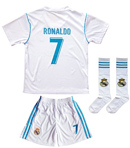 2015/2016 REAL MADRID #7 RONALDO KIDS HOME SOCCER JERSEY & SHORTS YOUTH SIZES (4-5 YEARS (Old Soccer Shirts)