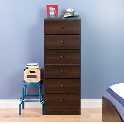 Prepac Astrid 6 Drawer Tall Chest, Espresso (Bedroom Dresser Tall)