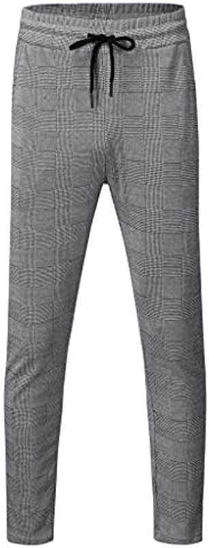FIRMON-Jeans Męskie Sport Casual Slim Jogger Sweatpants Hose, Plaid Bodybuilding Flexible Taille Lange Hose Hose Gr. 27-32, graue Hose: Odzież