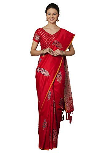 Craftsvilla Women's Silk Blend Festive Wear Saree With Blouse - Saree Festive