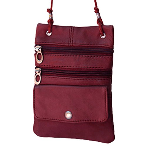 Fever Bag Leather Travel Pasport Crossbody Burgundy Silver qdwBzRq