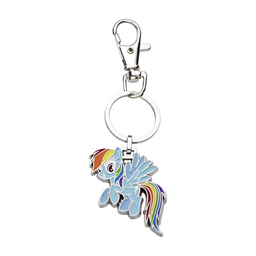 Hasbro Jewelry Girls My Little Pony Base Metal Rainbow Dash with Stainless Steel Key Chain, Silver/Light Blue, One Size (Dash Chain)