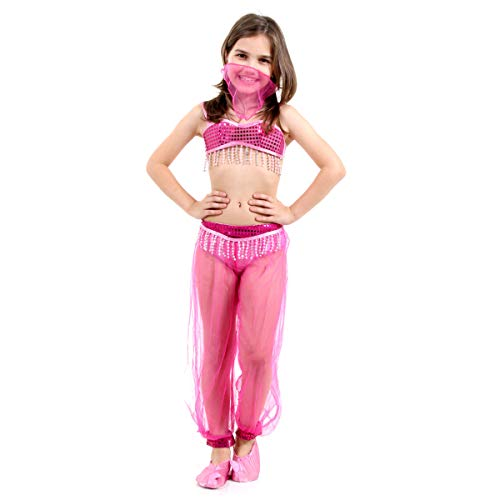 Fantasia Princesa da Arábia Infantil Sulamericana Fantasias Rosa P 3/4 Anos