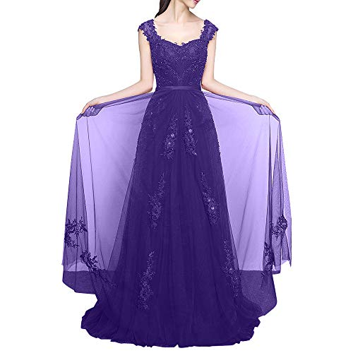 Abendkleider Weinrot A Lila Promkleider Bodenlang La Breit Abiballkleider Marie Linie Traeger Braut Spitze Damen Kleider Dunkel 88YE1