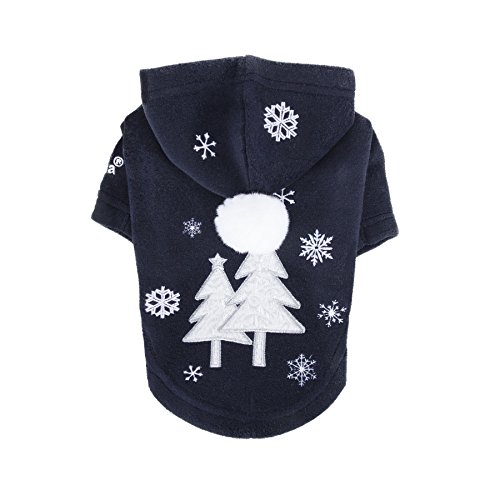 Puppia Authentic Snow Day Hoodie, Large, Navy by Puppia