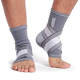 Neotech Care Ankle Brace Support (1 Pair) – Elastic & Breathable Fabric – Adjustable Compression Strap – for Men, Women, Youth – Left or Right Foot – Grey Color (Size L)