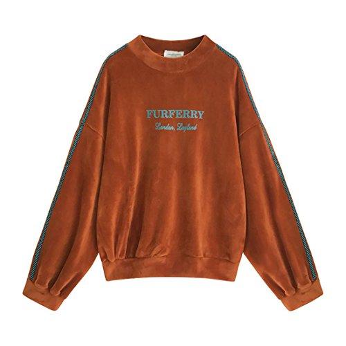 letras la e que caramel eran de gran nuevas terciopelo capa invierno suéter Las fina otoño chaqueta cosían del tamaño color del gruesa de 5W8wpq