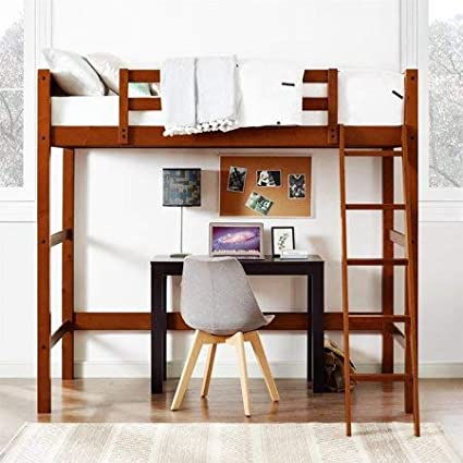 Amazon Com Twin Wood Loft Style Bunk Bed In Walnut Kitchen Dining