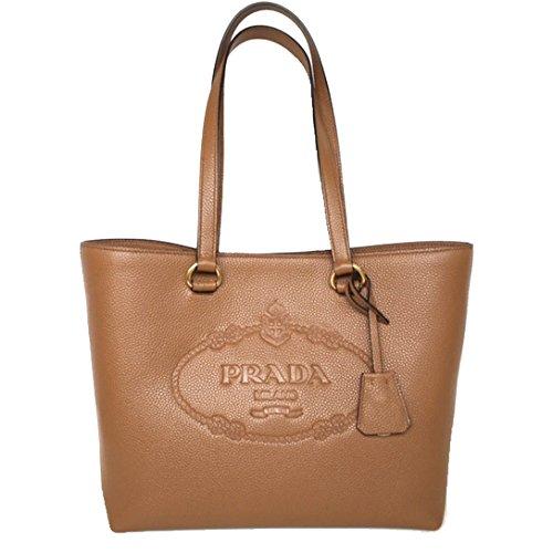 (Prada Vit Daino Logo Leather Shopping Tote Bag 1BG100 Caramel Beige)