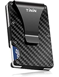 Carbon Fiber Wallet, Slim Money Clip & Minimalist RFID Blocking Front Packet, Aluminum Metal Wallet & Business Card Holder Billfolds for Men