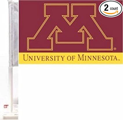 Minnesota Golden Gophers Premium 11 x 18 Two Sided Car Flags 1 Pair