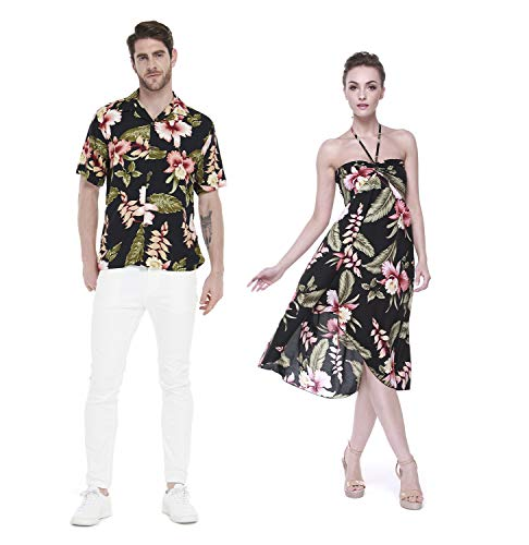 Couple Matching Hawaiian Luau Party Outfit Set Shirt Dress in Black Rafelsia Men XL Women XL]()