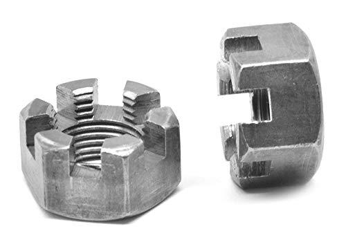 5/16-24 Fine Thread Grade 8 Slotted Hex Nut Medium Carbon Steel Plain Finish Pk 50