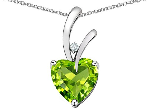 Genuine Peridot Heart Pendant - Star K Heart Shape 8mm Genuine Peridot Endless Love Pendant Necklace 10 kt White Gold