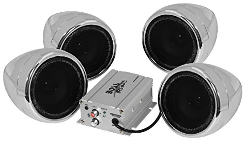 [BOSS Audio MC470B Bluetooth, All-Terrain, Weatherproof Speaker And Amplifier Sound System, Four 3 Inch Speakers, Bluetooth Amplifier, Inline Volume Control, Ideal For Motorcycles/ATV and 12 Volt Applications] (Boss Audio Systems)