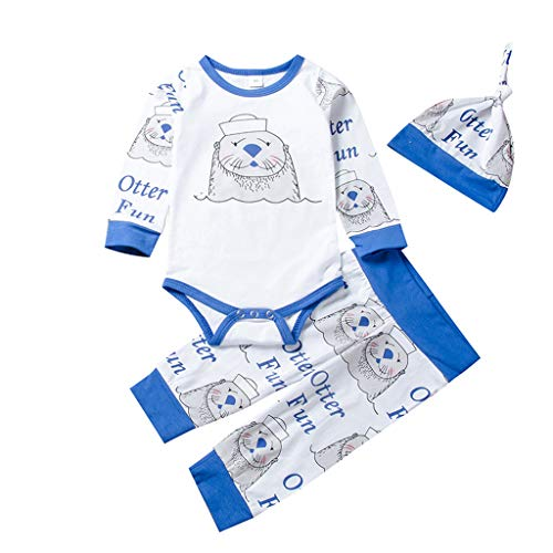 Goddesslili Baby Boy Girl Clothes, Cute Sea Lions Print Cozy Romper Pant Hat 3 Pairs Outfits Wonderful Gift for Kids 0-24 Mos White