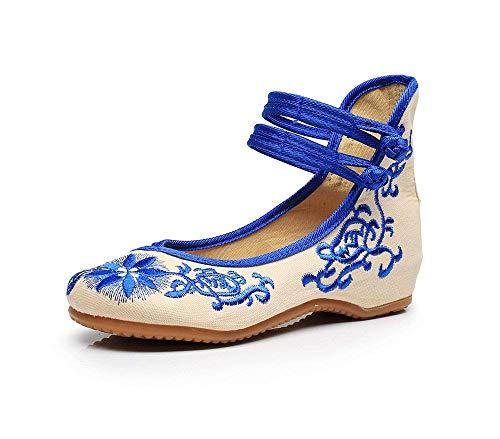 Ricamate Scarpe Dell'aumento All'interno Casual Stile colore Eeayyygch Suola Stoffa Tendine Di Blu Etnico Femminile A 38 Dimensione Moda Comodo p5wwHqxd