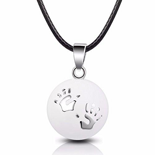 "EUDORA Harmony Ball Necklace Baby Hands Mexican Wishing Bola Pregnancy Pendant,30"" & 45"" Cord"