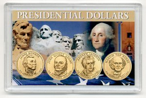 2008 P 4 Coin Uncirculated Presidential Dollars in Full Color Holders Uncirculated