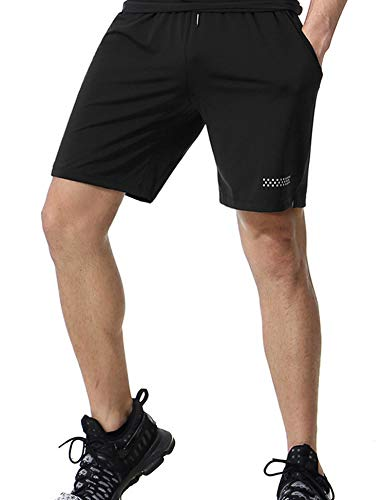 Men's Athletic Dry Fit Running Training Performance Shorts with Pockets Black L