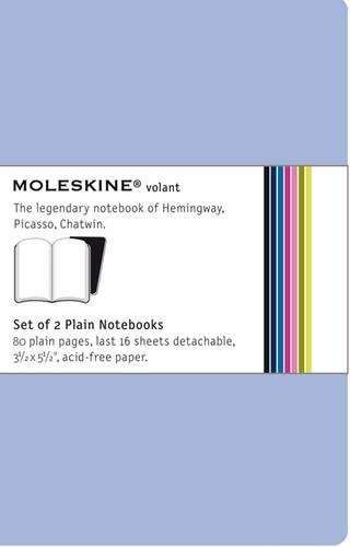Antwerp Blue Moleskine Volant Notebook Soft Cover Pocket Prussian Blue Plain Set of 2 3.5 x 5.5