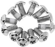 Prettyia 12Pcs/Bag Bicycle Brake Disc Screws with Anti-Slip Gel - M5 x 10mm Steel Rotor Disc Bolts Nuts T25 fo