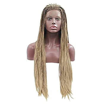 Xiweiya Synthetic lace front wigs micro braid Hand Tied Replacement Wig