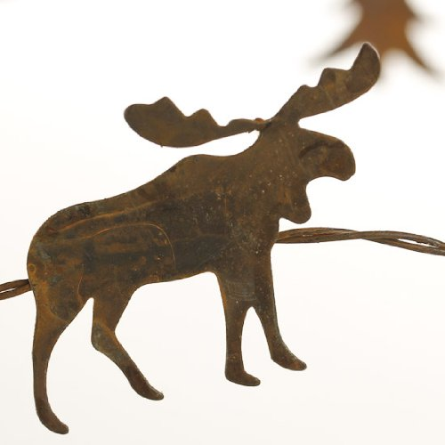 Primitive Rusted Metal Pine Tree and Moose Accent Garland- 2- 5 Foot (Moose Garland)