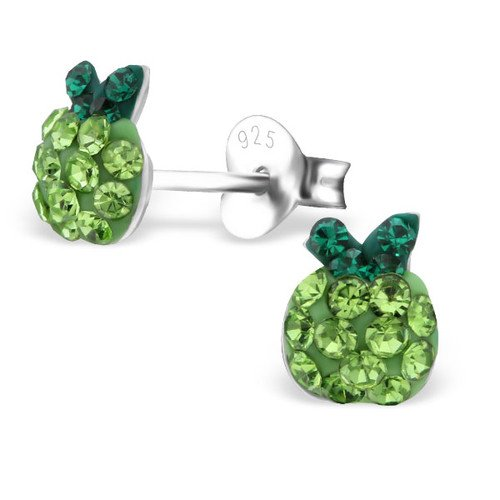 925 Sterling Silver Apple Crystal Ear Studs Girls