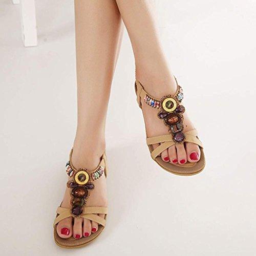 YANG-YI Clearance Fashion Beaded Clip Toe Flats Bohemian Herringbone Sandals (Khaki, US-9.5) by YANG-YI Sandals (Image #2)