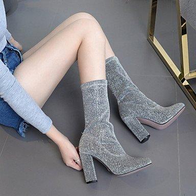 Heart&M Mujer Zapatos Satén Elástico Otoño Invierno Botas hasta el Tobillo Confort Innovador Botas de Moda Botas Tacón Robusto Dedo Puntiagudo black