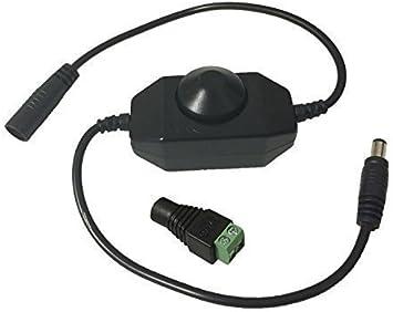 LitaElek LED Strip Dimmer Controller DC 12V-24V 6A Regulador Tira LED Switch Dimable Interruptor Banda LED Dimmer en Línea Conector 5.5x2.1mm para SMD 5050 5630 3528 2835 Cinta LED u otra Iluminación